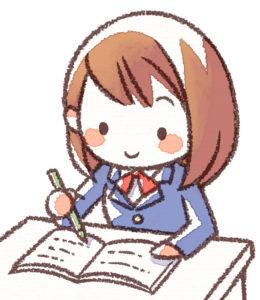 机で勉強する女子高生