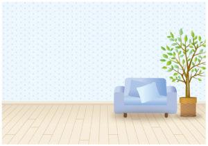 ソファーと観葉植物のあるリビング