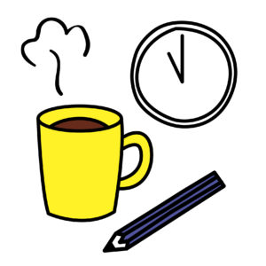 時計とコーヒーと鉛筆