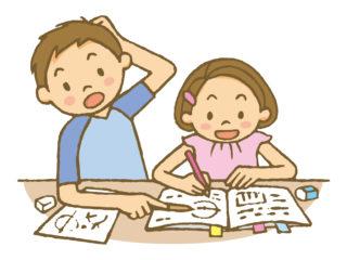 女の子に勉強を教える男の子