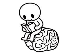 脳に座って読書する人