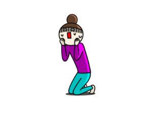 ショックを受けて膝ついて頬を抑える女性
