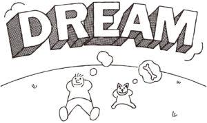 寝そべって夢を思い浮かべる人と犬