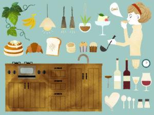 女性とキッチン周り