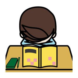 勉強中に寝る子供