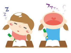 授業中に眠い女の子二人